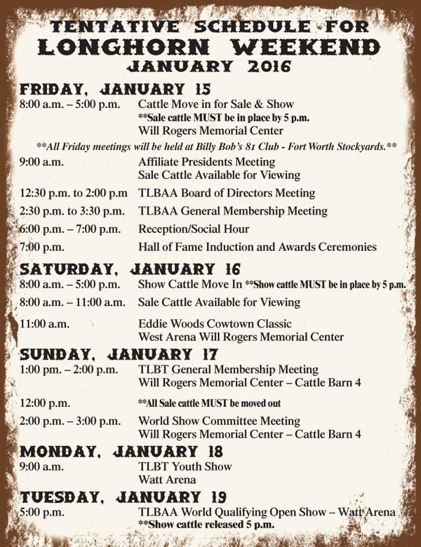 Longhorn Weekend Schedule rev. 11.5.15